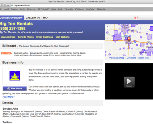 Screen capture of the BigTenRentals.net website that all Pay Per Click ads go to.