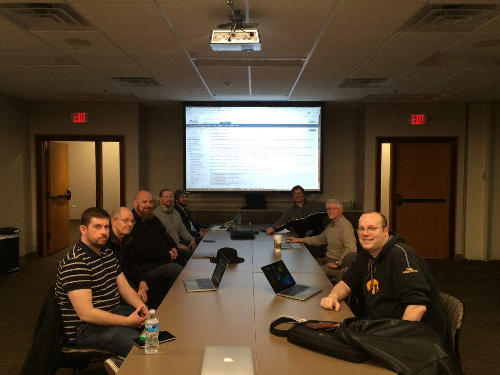 WordPress geeks around the table at Linn Area Community Credit Union - Business Center