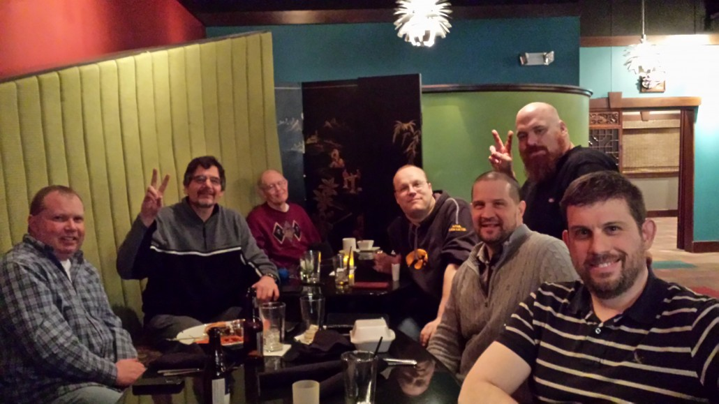 Wordpress geeks having dinner after Linn Area Community Credit Union - Business Center