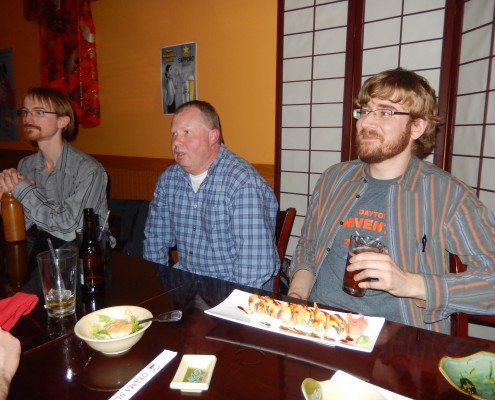 Aaron Frerichs, Mike Irvine and Seth Adam at Oyama Sushi & Steakhouse