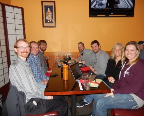 Cedar Rapids Wordpress meetup members from left to right: Aaron Frerichs, Mike Irvine, Seth Adam, Aaron Van Noy, Nate Houstman, Donna Conn and Kathline Kay Conn having dinner at Oyama Sushi & Steakhouse
