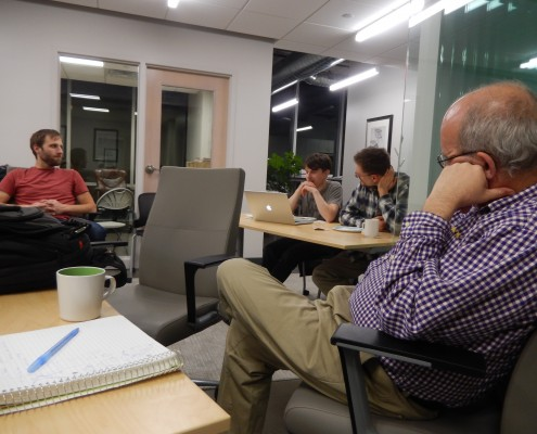 Discussing the Slack app at JavaScript Meetup at MetaCommunications in Iowa City, IA