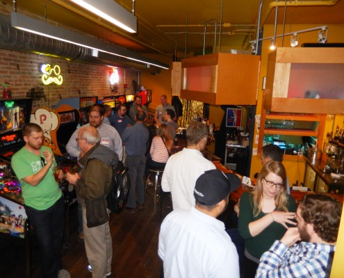 Fellow Nerds talk about technology at TechBrew at Forbidden Planet in Iowa City