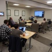 JavaScript Meetup crew at MetaCommunications in Iowa City, IA