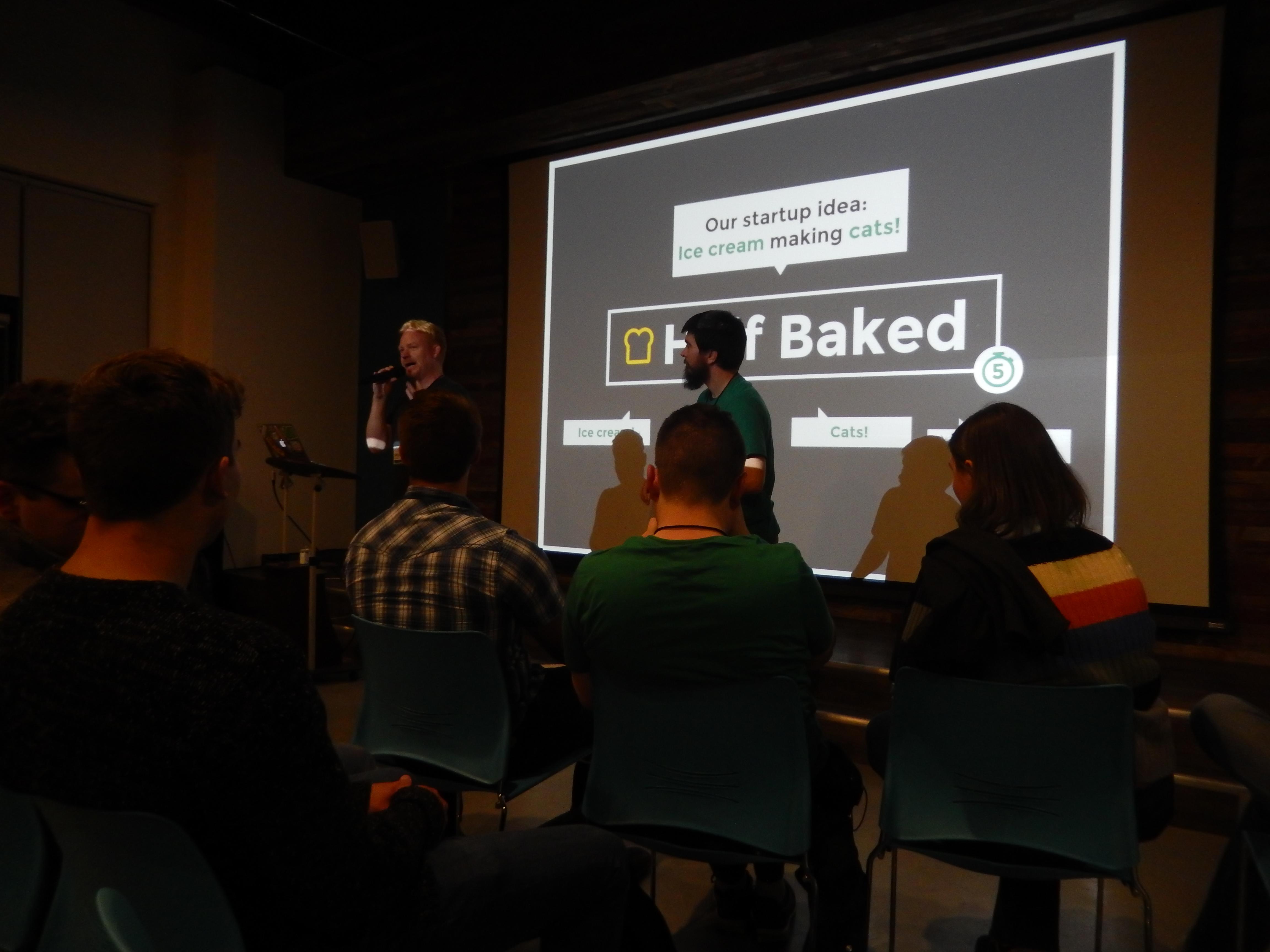 Start of Half Baked game at Cedar Rapids Startup Weekend