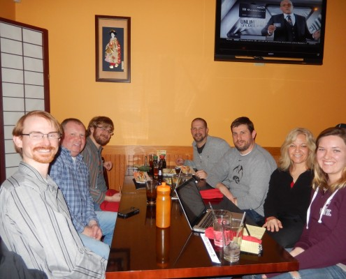 From left to right: Aaron Frerichs, Mike Irvine, Seth Adam, Aaron Van Noy, Nate Houstman, Donna Conn and Donna's daughter Kathline Kay Conn at Oyama Sushi & Steakhouse.