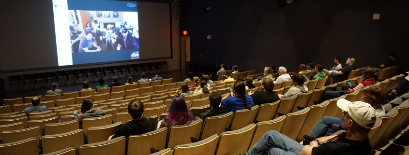 Crowd in the auditorium at EPXCON game dev event at Art Building West in Iowa City