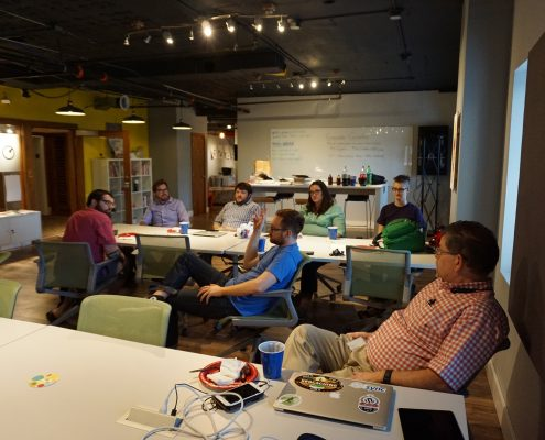 Discussion at WordPress presentation in Des Moines, Iowa