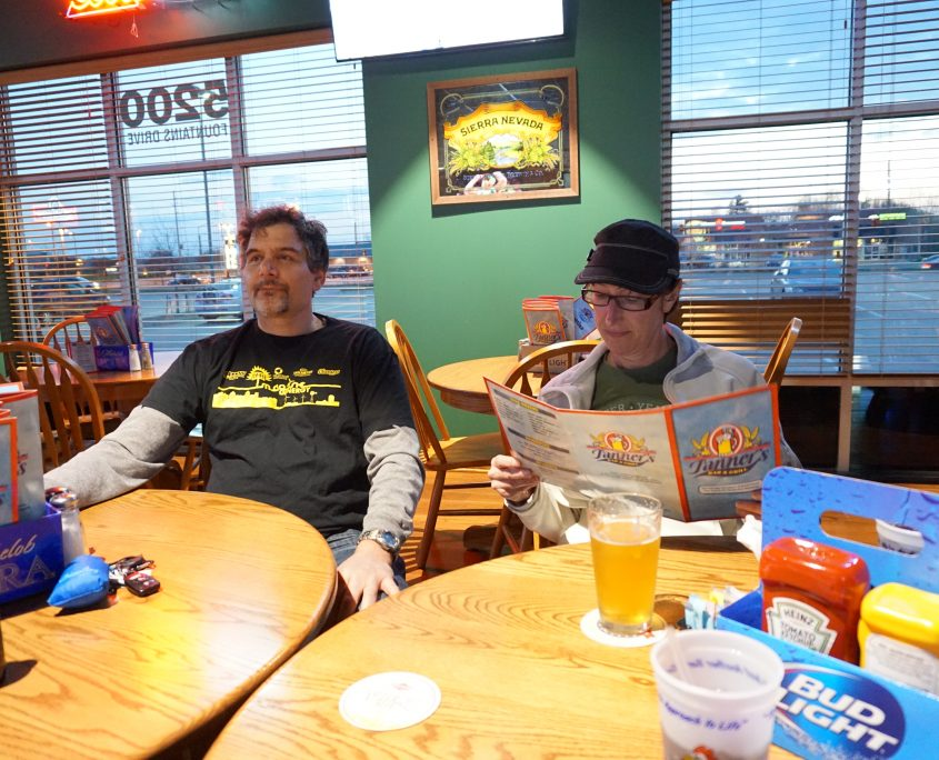 Don White and Lynette Brown post-WordPress meetup at after party at Tanners Bar and Grill in Cedar Rapids, IA