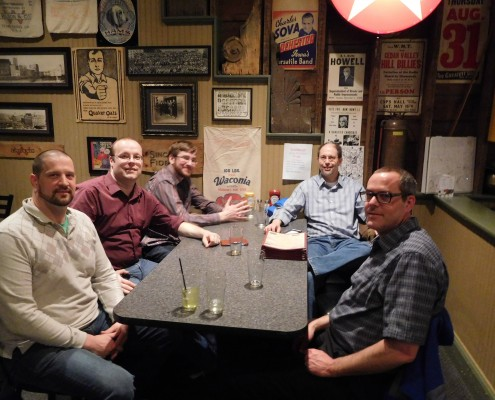 From left to right: Aaron Van Noy, Paul Allen, Seth Adam, Greg Sohl and Jay Ellsworth at .Net after party in Cedar Rapids, Iowa