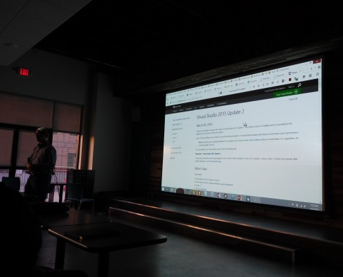 Greg Sohl shows the site of Visual Studio 2015 Update