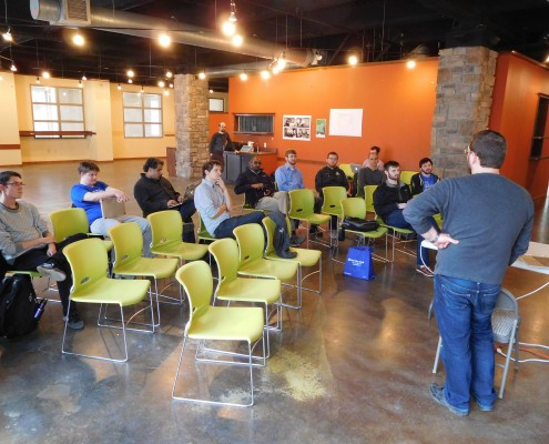People in attendance at the ALT (Art + Life + Tech) event in Iowa City, IA