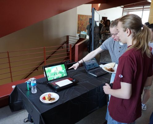 Playing games at EPXCON game dev event in Iowa City