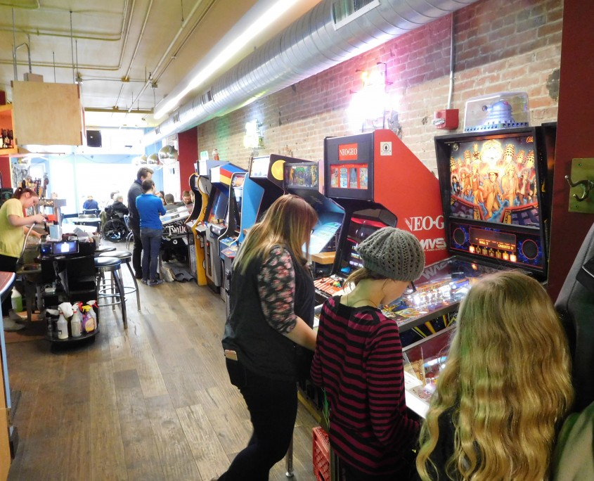 Playing pinball with Forbidden Planet at Forbidden Plannet in Iowa City, IA