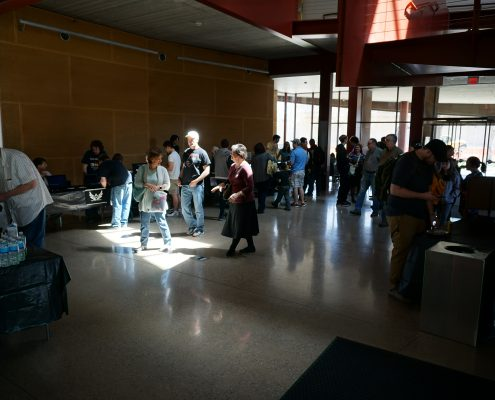 The crowd at EPXCON main lobby of Art Building West in Iowa City