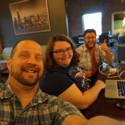 Left to right, Aaron Van Noy, Sarah Dunlap and Chris Ortman at OpenHack event in North Liberty, Iowa