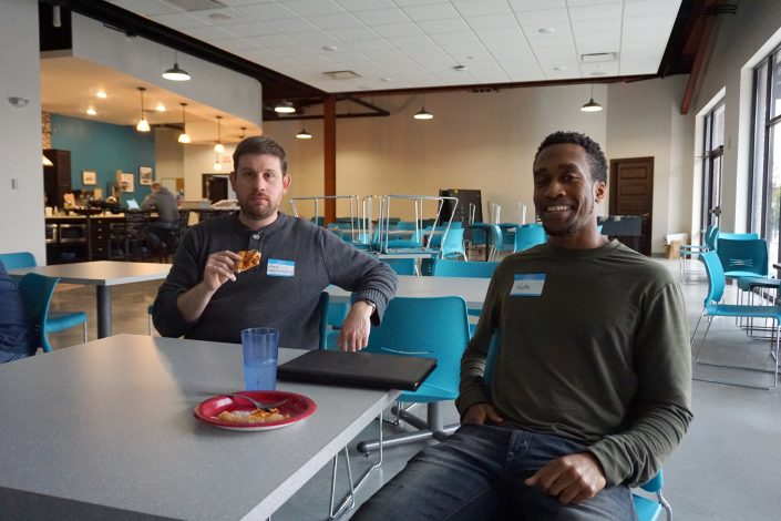 Nate Houstman and Nate Collins who works at the GeoNetric building in Cedar Rapids, IA