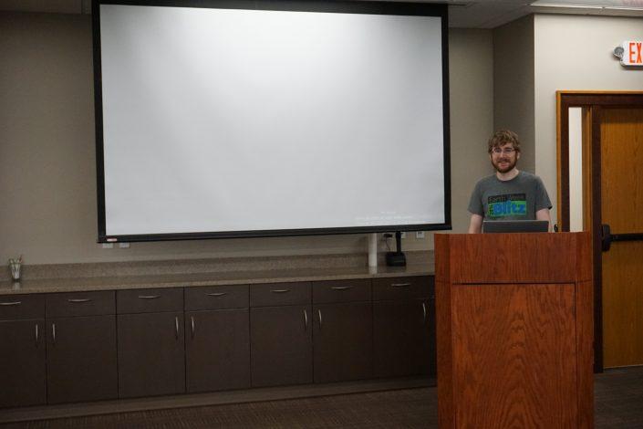 Seth Adam getting ready for his WordPress talk