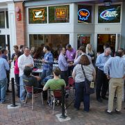 TechBrew attendees outside on the patio at Forbidden Planet