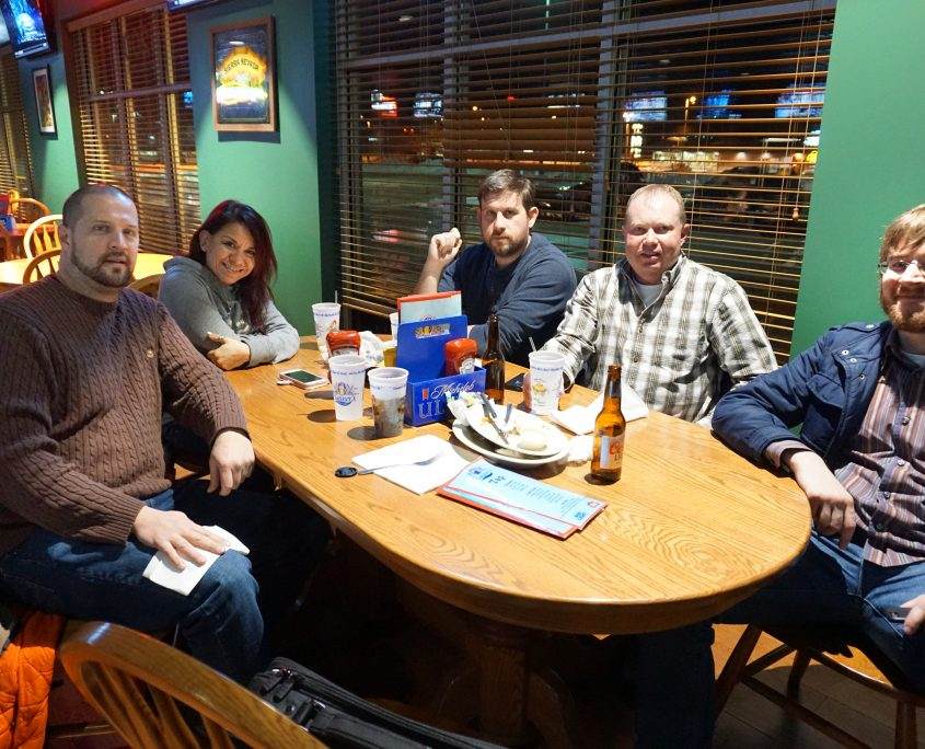 Post WordPress meetup dinner crew. From left to right: Aaron Van Noy, Niki Soto, Nate Houstman, Mike Irvine, and Seth Adam.