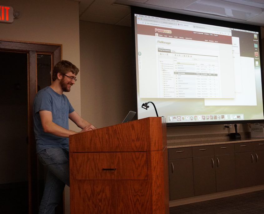 Seth Adam of Dakota Softworks showing the group how to migrate a WordPress website from PowWeb to DigitalOcean