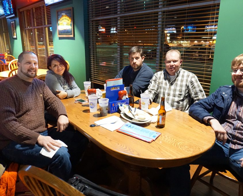 WordPress meetup group dinner crew. From left to right: Aaron Van Noy (Owner of Big Ten Web Design), Niki Soto, Nate Houstman, Mike Irvine, and Seth Adam