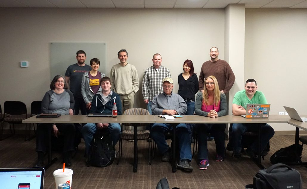 Group photo of WordPress attendees at the Modern Web Design with WordPress in Cedar Rapids, Iowa