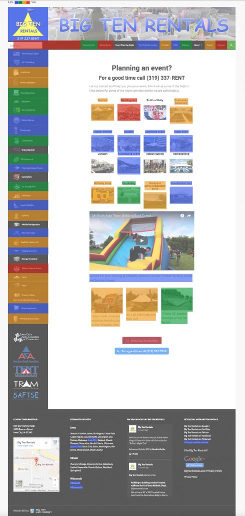 Big Ten Rentals Google website heatmap