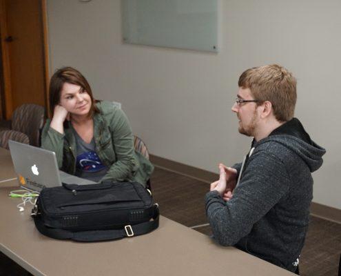Michele Saba talking with with Seth Adam