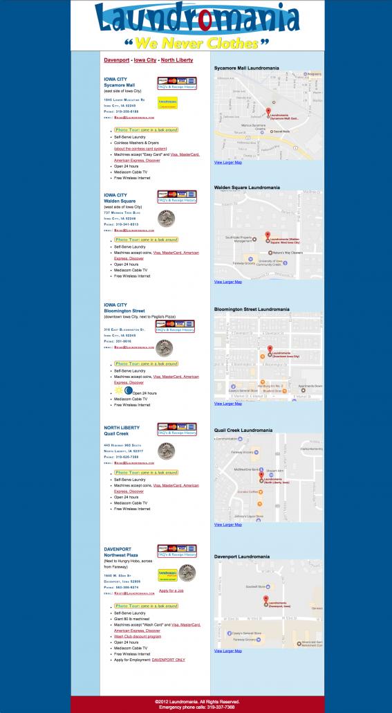 Original Laundromania website with maps