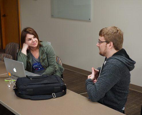 Seth Adam talking about software development with entrepreneur Michele Saba