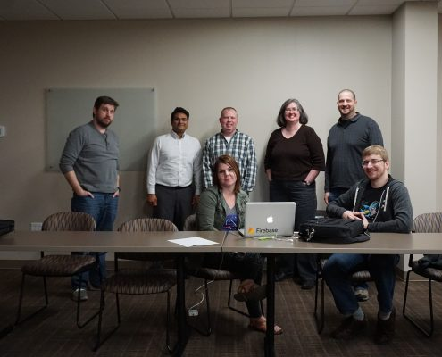 WordPress meetup group photo with Nate Houstman, Sudin Huddar, Mike Irvine, Pat C. and Aaron Van Noy (Standing) Michele Saba and Seth Adam (Seated)