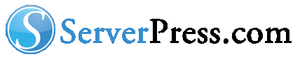 serverpress logo blue and black for white backgrounds