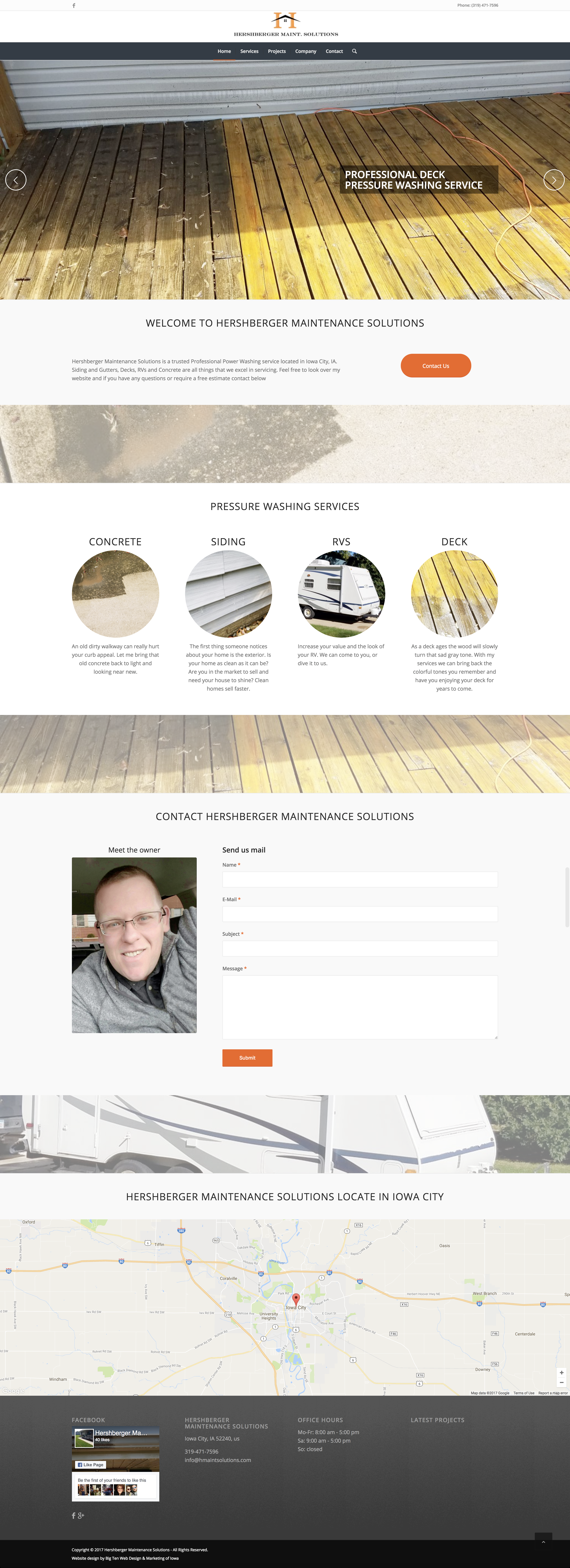 Hershberger Maintenance Solutions website built by Big Ten Web Design with free ssl