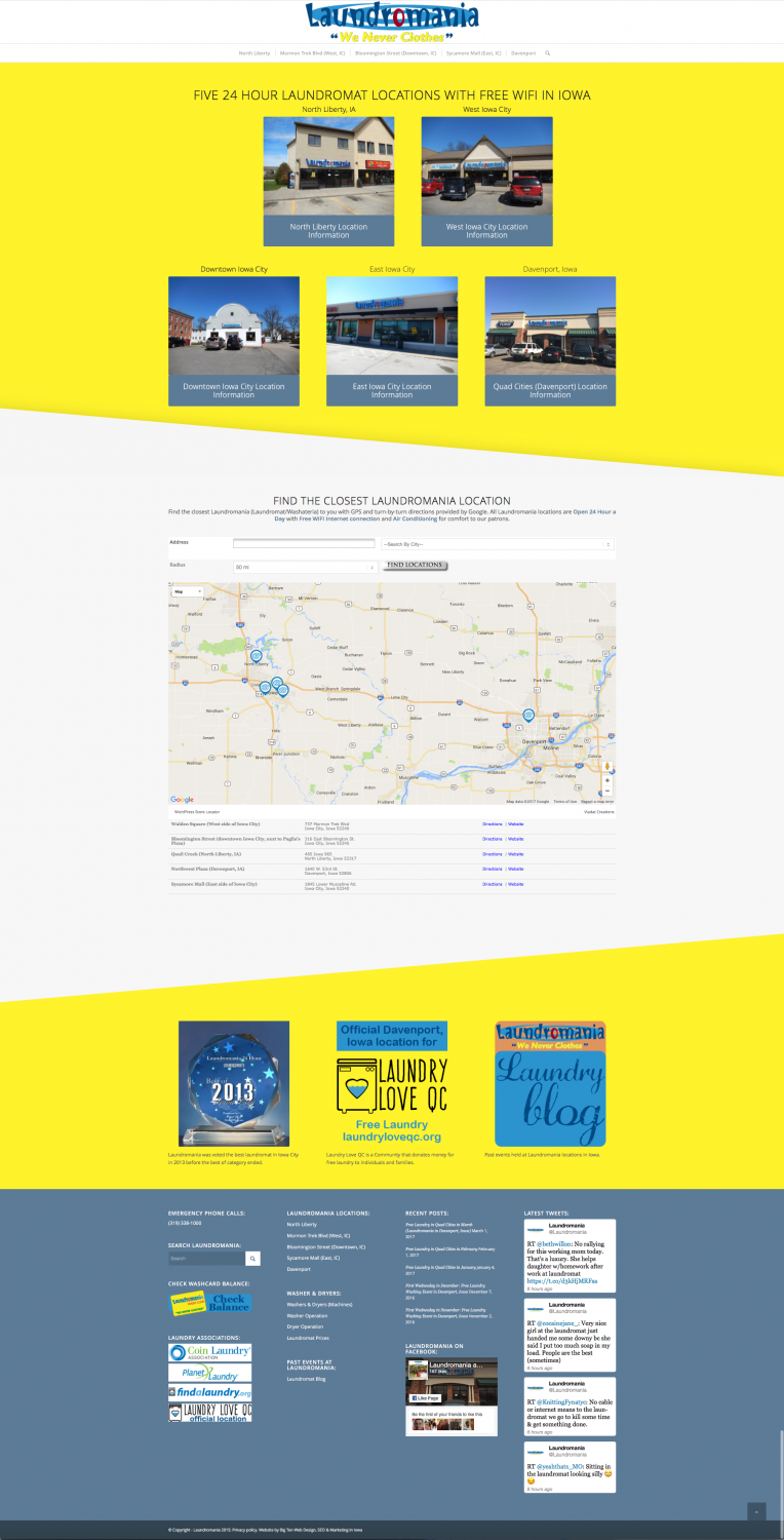 Laundromania website main full page overview yellow