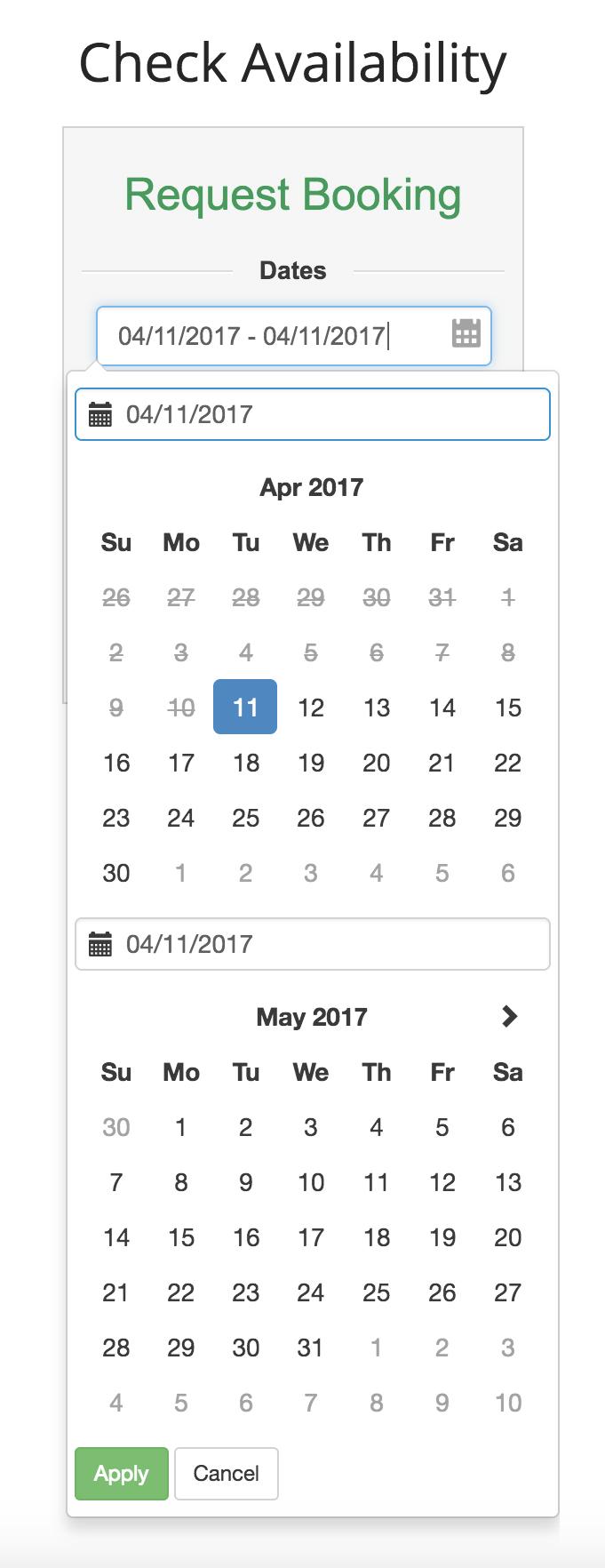 Custom Website Application (Date Picker)