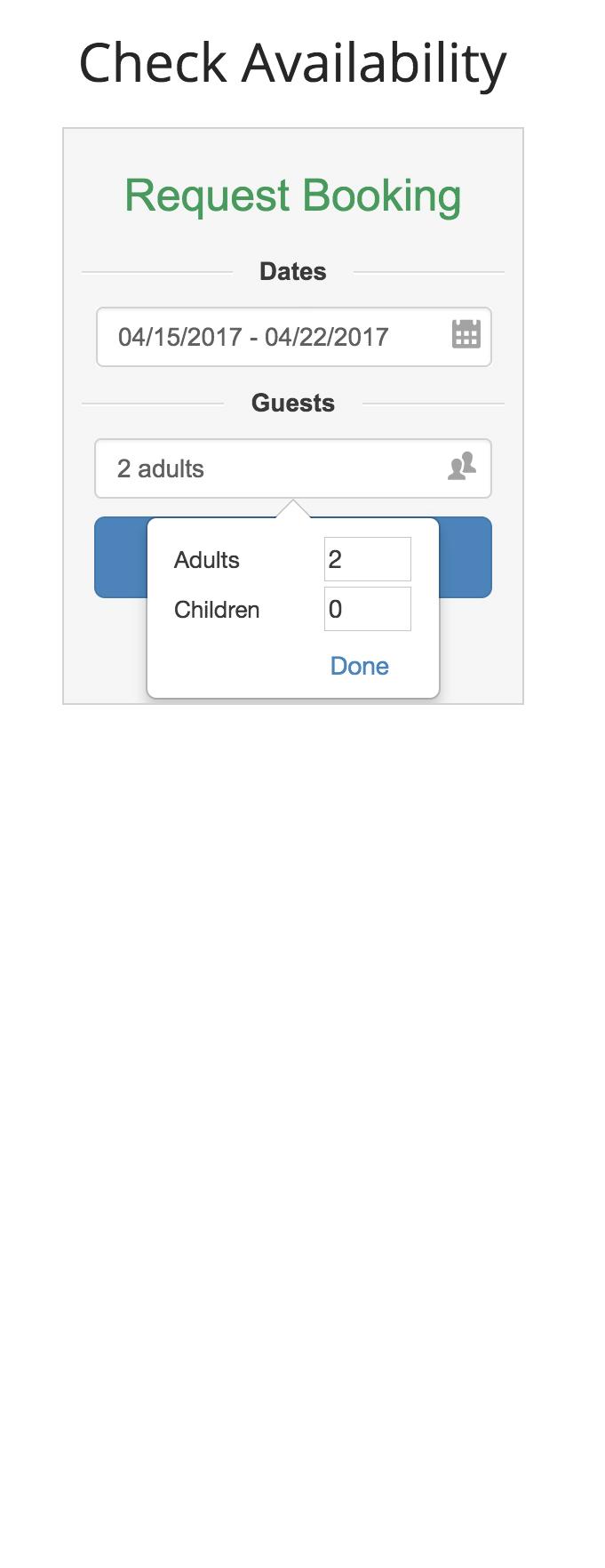 Custom Website Application (Guest Number Options)