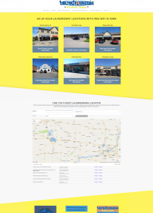 Laundromania website screen shot yellow 6 locations