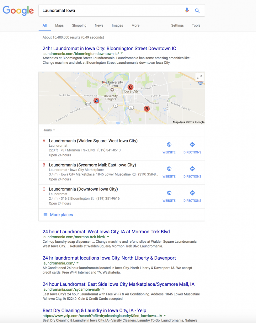 Search Engine Optimized website for stellar SERP results like Laundromania