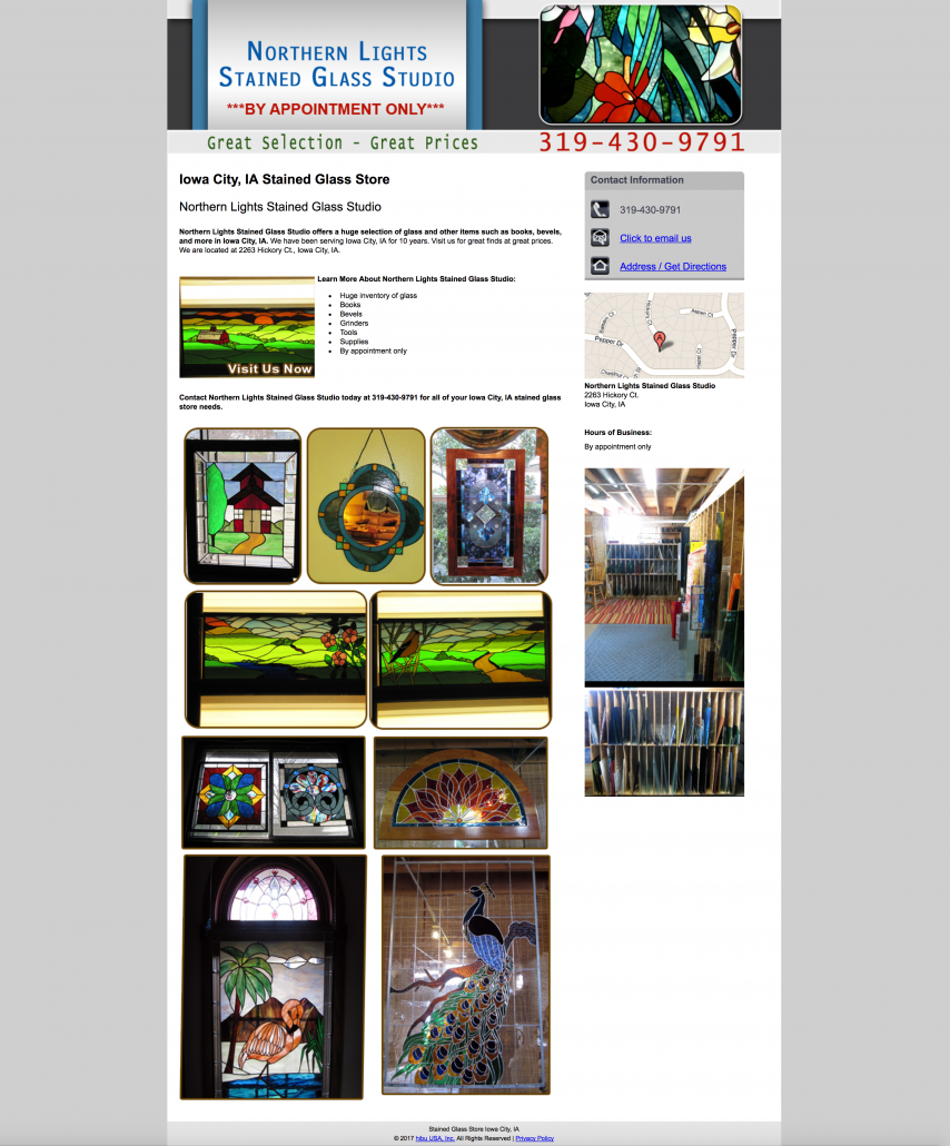 hibu designed website for northern lights stained glass studio