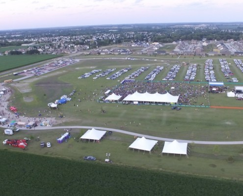 Aerial photo at the North Liberty Jazz Fest at night 2017