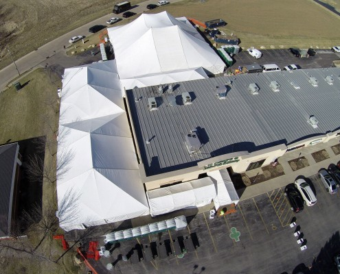 Aerial photography of an event tent in Davenport, Iowa