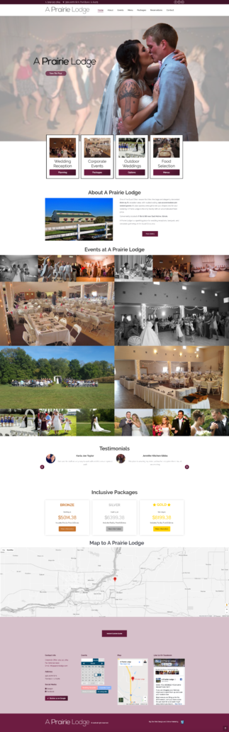 "The new ""A Prairie Lodge"" Wedding Reception Venue Website"