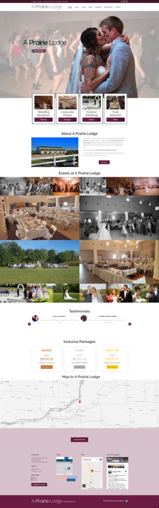 "The new ""A Prairie Lodge"" Wedding Reception Venue Website"