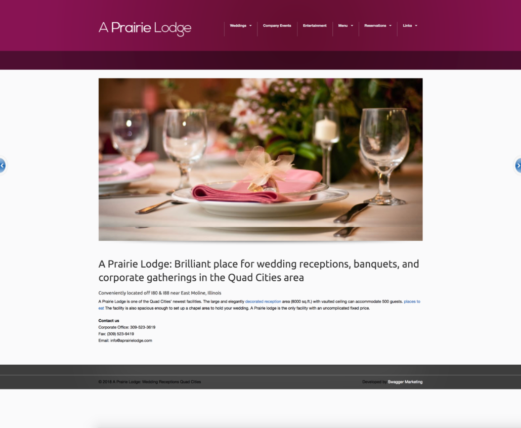 """Original """"A Prairie Lodge"""" website made poorly by SwaggerMarketing.com"""